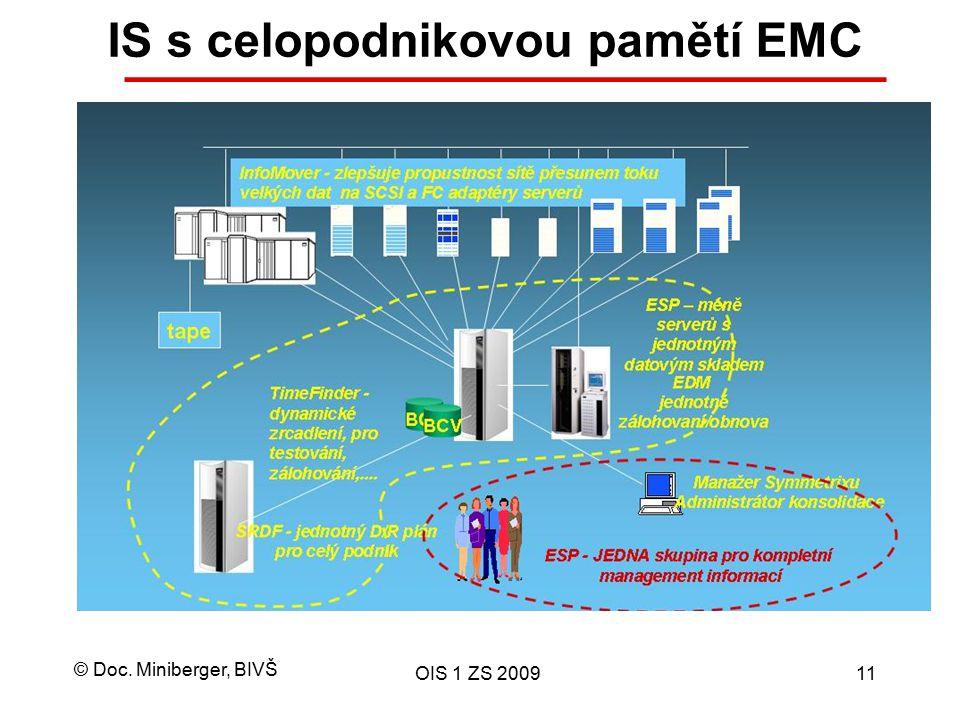 © Doc. Miniberger, BIVŠ OIS 1 ZS 200911 IS s celopodnikovou pamětí EMC