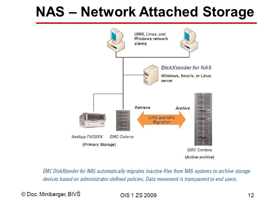 © Doc. Miniberger, BIVŠ OIS 1 ZS 200912 NAS – Network Attached Storage
