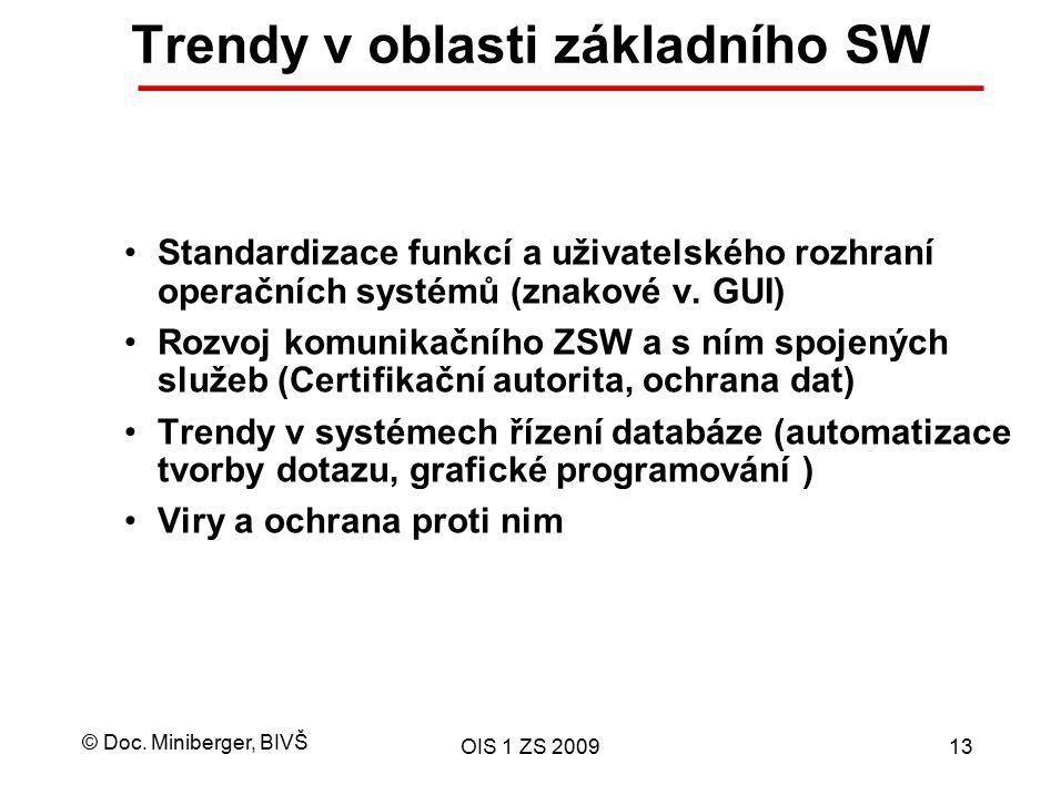 © Doc. Miniberger, BIVŠ OIS 1 ZS 200913 Trendy v oblasti základního SW Standardizace funkcí a uživatelského rozhraní operačních systémů (znakové v. GU
