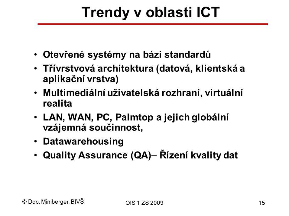© Doc. Miniberger, BIVŠ OIS 1 ZS 200915 Trendy v oblasti ICT Otevřené systémy na bázi standardů Třívrstvová architektura (datová, klientská a aplikačn