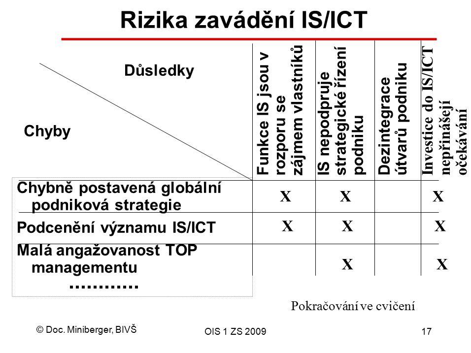 © Doc. Miniberger, BIVŠ OIS 1 ZS 200917 Rizika zavádění IS/ICT Chybně postavená globální podniková strategie Podcenění významu IS/ICT Malá angažovanos