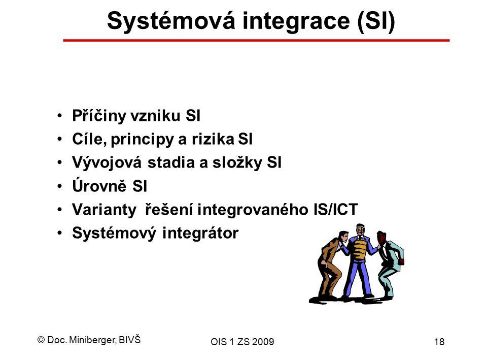 © Doc. Miniberger, BIVŠ OIS 1 ZS 200918 Systémová integrace (SI) Příčiny vzniku SI Cíle, principy a rizika SI Vývojová stadia a složky SI Úrovně SI Va