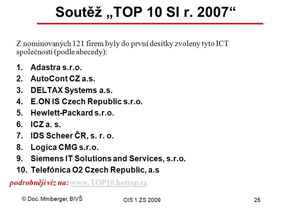 """© Doc. Miniberger, BIVŠ OIS 1 ZS 200925 Soutěž """"TOP 10 SI r. 2007"""" podrobněji viz na: www.TOP10.hottop.czwww.TOP10.hottop.cz 1.Adastra s.r.o. 2.AutoCo"""