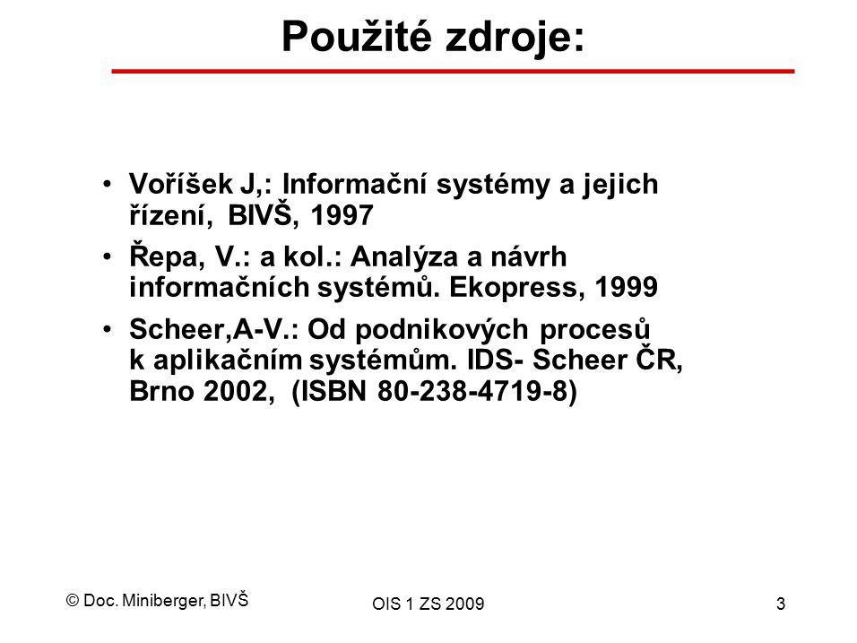 © Doc. Miniberger, BIVŠ OIS 1 ZS 20093 Použité zdroje: Voříšek J,: Informační systémy a jejich řízení, BIVŠ, 1997 Řepa, V.: a kol.: Analýza a návrh in