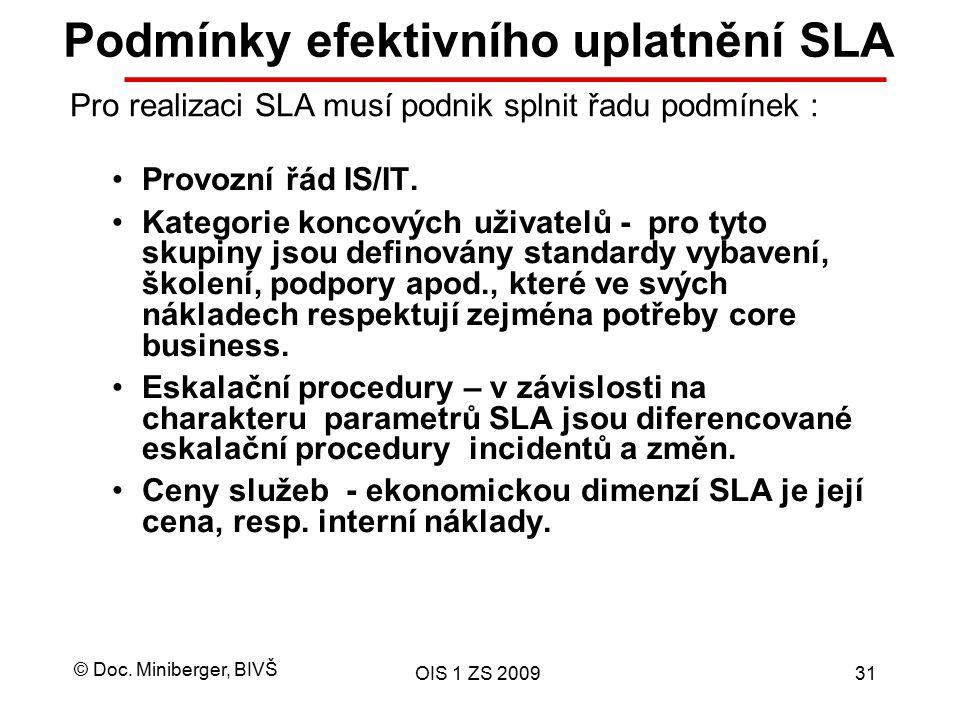 © Doc. Miniberger, BIVŠ OIS 1 ZS 200931 Podmínky efektivního uplatnění SLA Provozní řád IS/IT. Kategorie koncových uživatelů - pro tyto skupiny jsou d