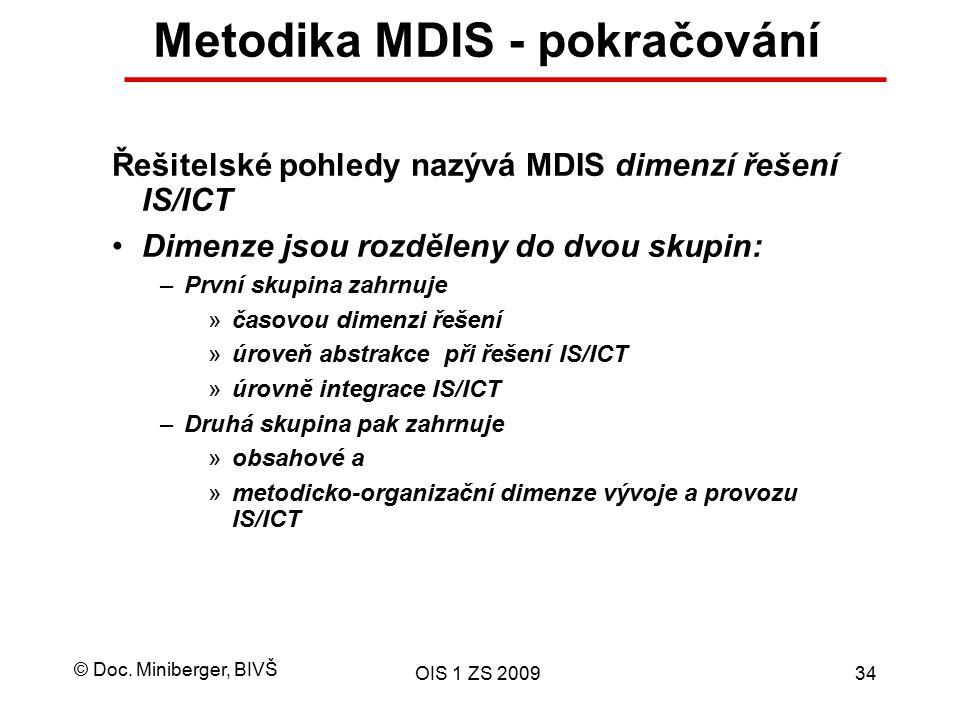 © Doc. Miniberger, BIVŠ OIS 1 ZS 200934 Metodika MDIS - pokračování Řešitelské pohledy nazývá MDIS dimenzí řešení IS/ICT Dimenze jsou rozděleny do dvo