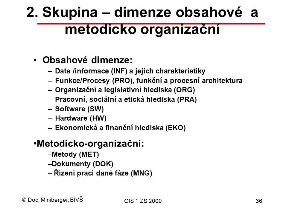 © Doc. Miniberger, BIVŠ OIS 1 ZS 200936 Obsahové dimenze: –Data /informace (INF) a jejich charakteristiky –Funkce/Procesy (PRO), funkční a procesní ar