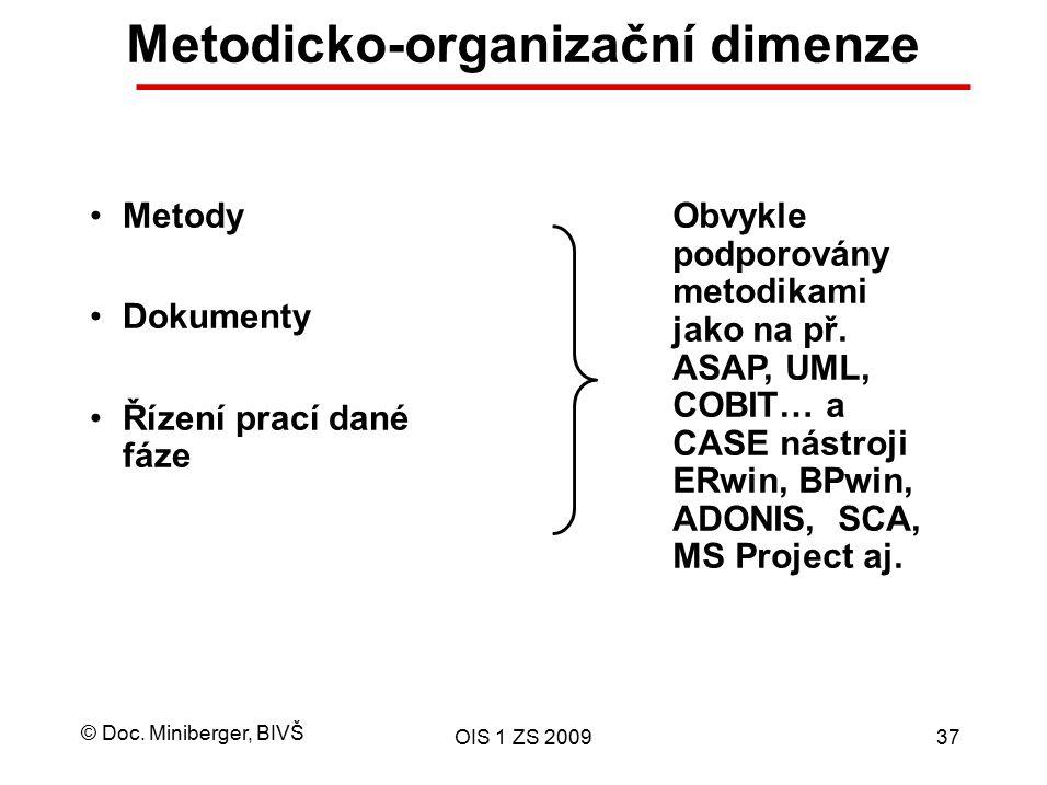 © Doc. Miniberger, BIVŠ OIS 1 ZS 200937 Metodicko-organizační dimenze Metody Dokumenty Řízení prací dané fáze Obvykle podporovány metodikami jako na p