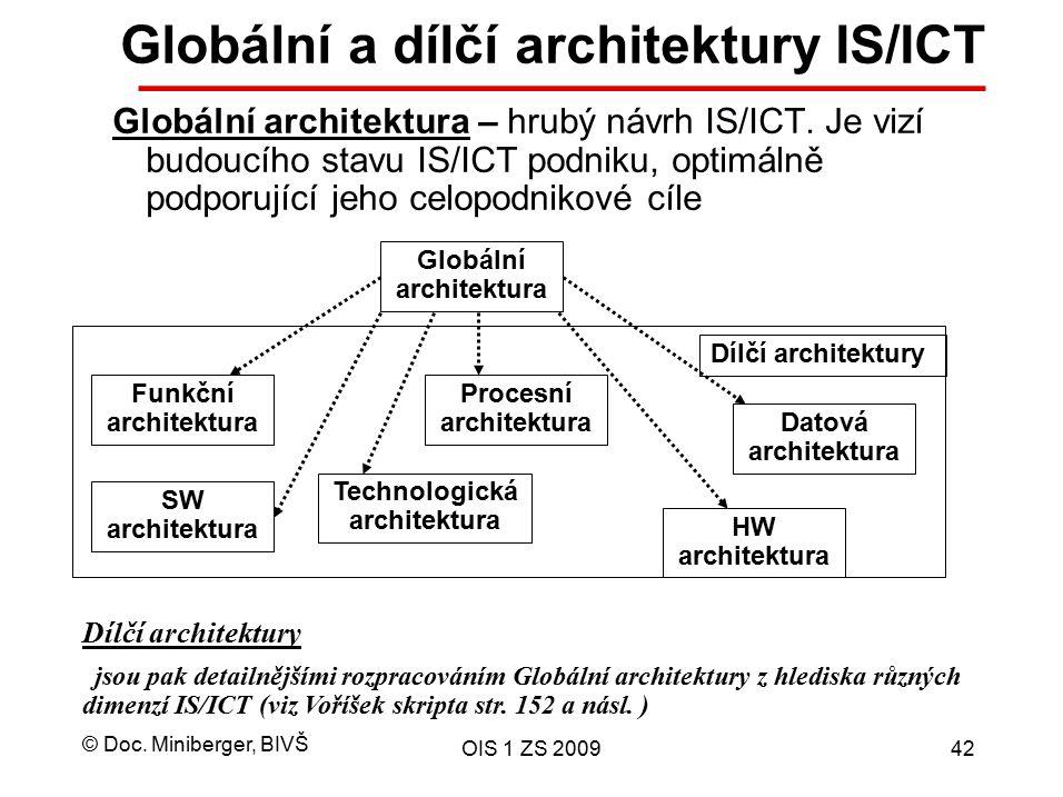 © Doc. Miniberger, BIVŠ OIS 1 ZS 200942 Globální a dílčí architektury IS/ICT Globální architektura – hrubý návrh IS/ICT. Je vizí budoucího stavu IS/IC