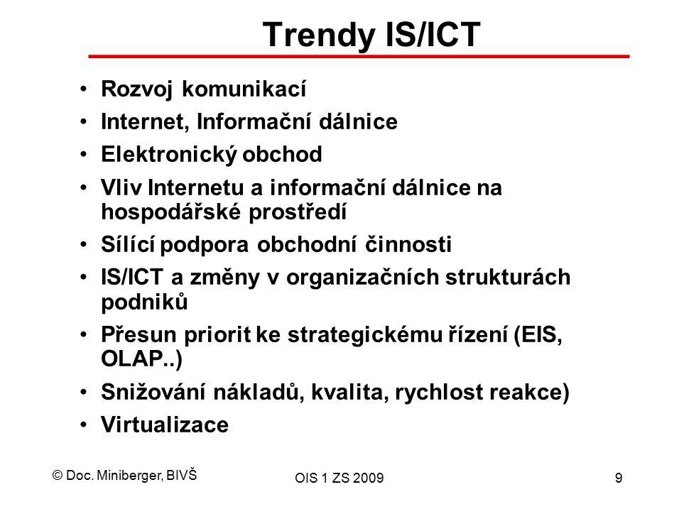 © Doc. Miniberger, BIVŠ OIS 1 ZS 20099 Trendy IS/ICT Rozvoj komunikací Internet, Informační dálnice Elektronický obchod Vliv Internetu a informační dá