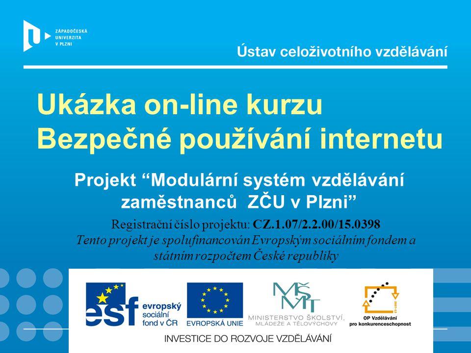 Projekt Modulární systém vzdělávání zaměstnanců ZČU v Plzni Registrační číslo projektu: CZ.1.07/2.2.00/15.0398 Tento projekt je spolufinancován Evropským sociálním fondem a státním rozpočtem České republiky Ukázka on-line kurzu Bezpečné používání internetu