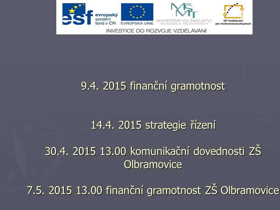 9.4. 2015 finanční gramotnost 14.4. 2015 strategie řízení 30.4.