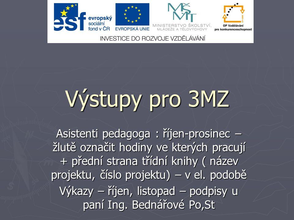 Výstupy pro 3MZ Asistenti pedagoga : říjen-prosinec – žlutě označit hodiny ve kterých pracují + přední strana třídní knihy ( název projektu, číslo projektu) – v el.