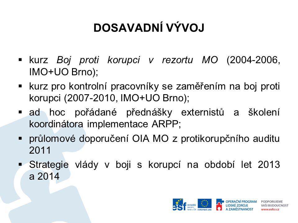 DOSAVADNÍ VÝVOJ  kurz Boj proti korupci v rezortu MO (2004-2006, IMO+UO Brno);  kurz pro kontrolní pracovníky se zaměřením na boj proti korupci (200