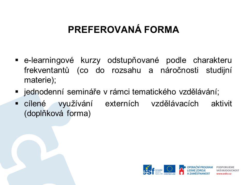 PREFEROVANÁ FORMA  e-learningové kurzy odstupňované podle charakteru frekventantů (co do rozsahu a náročnosti studijní materie);  jednodenní seminář