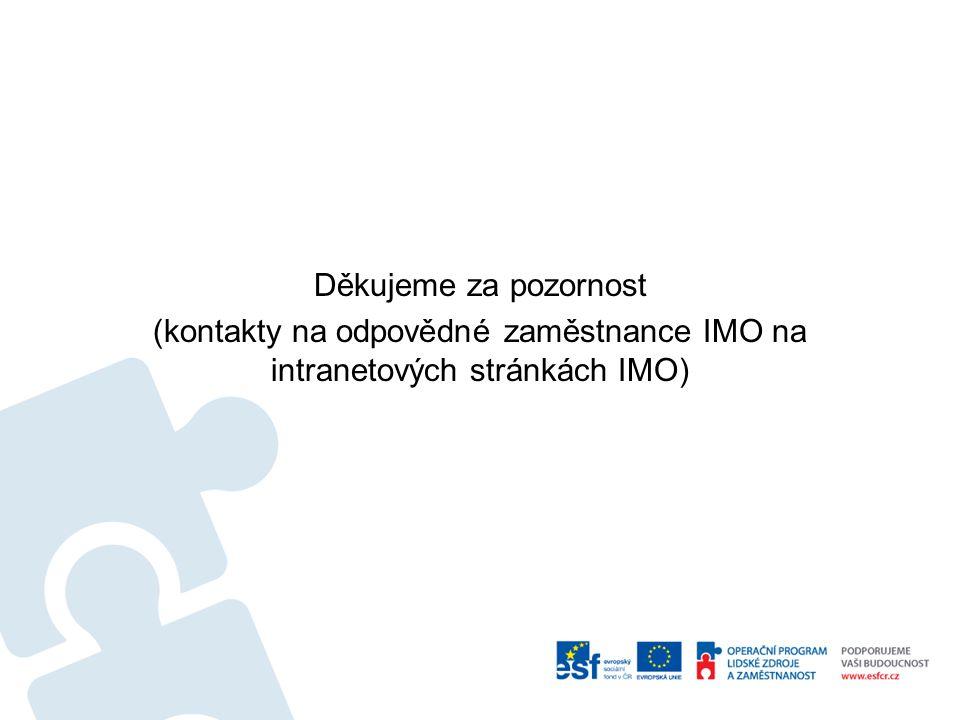 Děkujeme za pozornost (kontakty na odpovědné zaměstnance IMO na intranetových stránkách IMO)