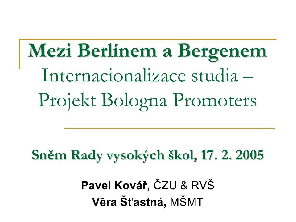 """2 Priority & inventura Tři oblasti:  Uznávání – Lisabonská úmluva – doprovodný text """"joint degrees  Zabezpečení kvality – registr EK, ENQA (E4)  Implementace prvých dvou cyklů Inventura  BFUG pracovní skupina – termín: konec roku 2004  EUA - Trendy IV Rámec kvalifikací – národní i evropský – společná metodologie - -Každá kvalifikace bude popsána z hlediska výstupů  Úrovně, studijní zátěže – ECTS!, kompetencí, profilu, výstupů studia Nové země - zpráva Komuniké ministrů z Bergenu (Bologna Board,1.-2.3."""