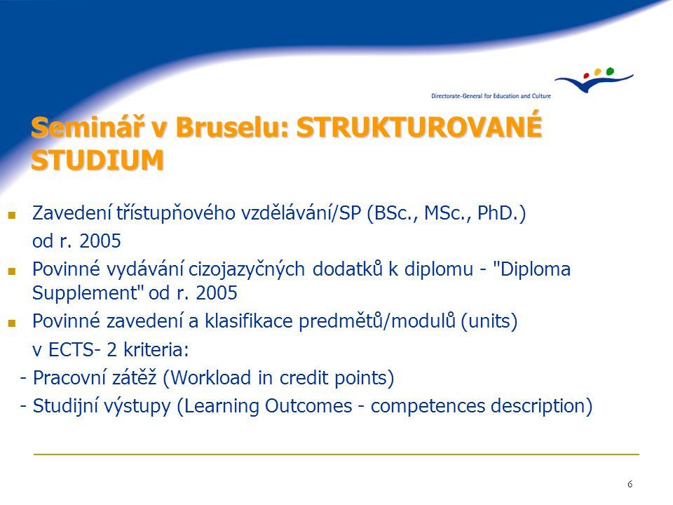 6 Seminář v Bruselu: STRUKTUROVANÉ STUDIUM Zavedení třístupňového vzdělávání/SP (BSc., MSc., PhD.) od r. 2005 Povinné vydávání cizojazyčných dodatků k