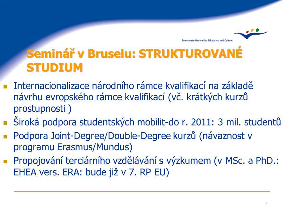 8 Seminář v Bruselu: UZNÁVÁNÍ DIPLOMŮ A KVALIFIKACÍ Implementace Lisabonské úmluvy o uznávání (1997): využít jejích principů Národní a Evropský rámec kvalifikací - prostupnost stupňů, ECTS, DS, koncepce celoživotního vzdělávání (LLL) Kritéria směřují k flexibilitě: neuznání pouze v případě významných odlišností SP (>50%?) Konečné uznávání je v působnosti každé země, řídí se její legislativou.