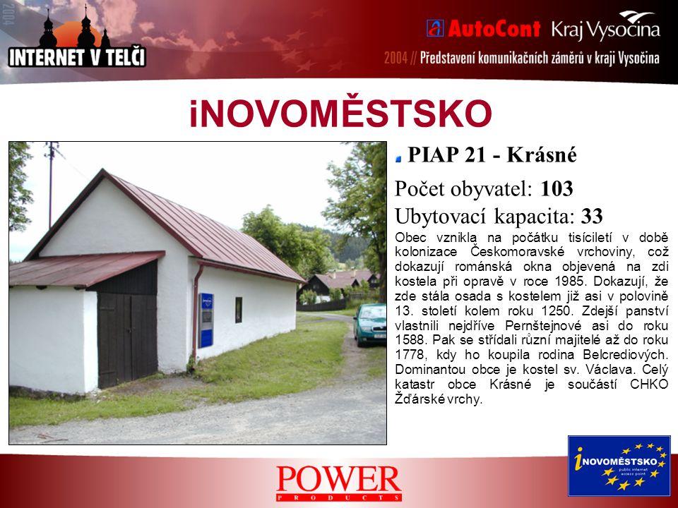 iNOVOMĚSTSKO PIAP 21 - Krásné Obec vznikla na počátku tisíciletí v době kolonizace Českomoravské vrchoviny, což dokazují románská okna objevená na zdi kostela při opravě v roce 1985.