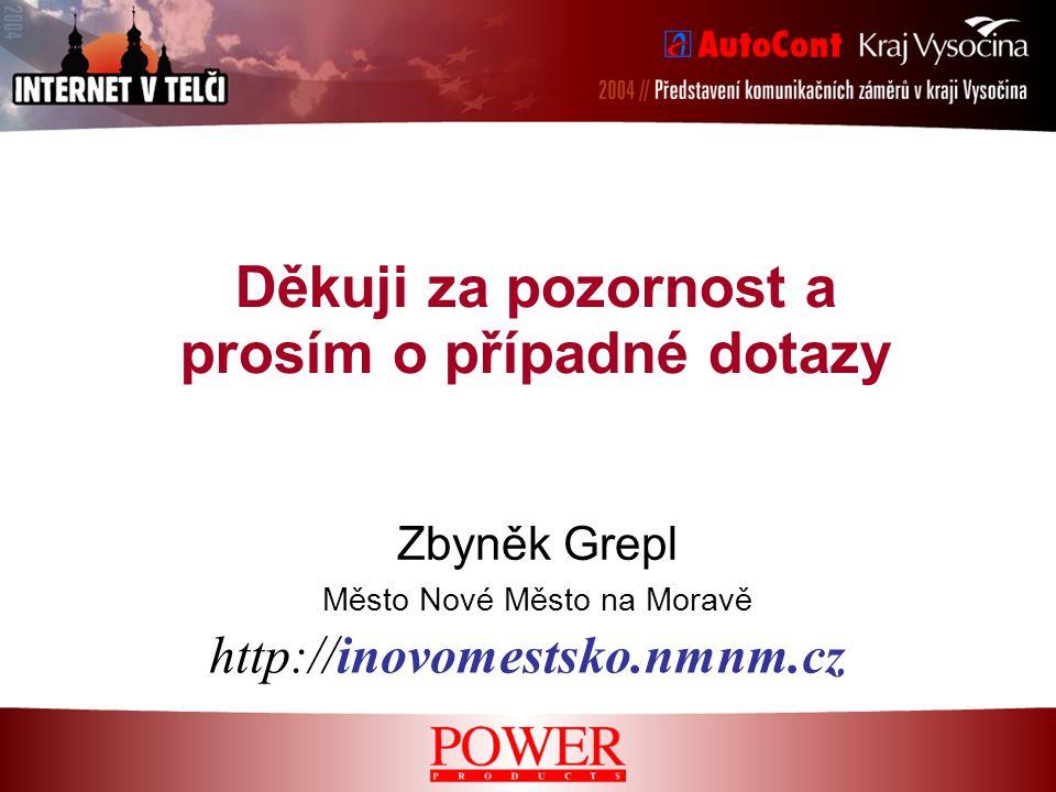 Děkuji za pozornost a prosím o případné dotazy Zbyněk Grepl Město Nové Město na Moravě http://inovomestsko.nmnm.cz