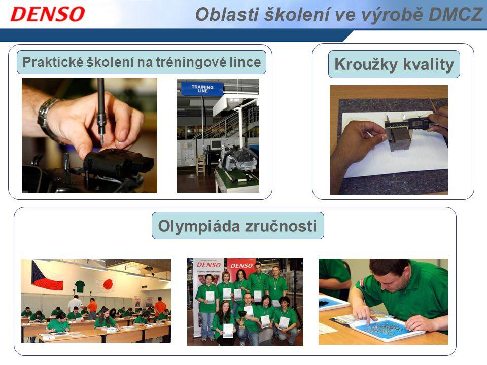 Oblasti školení ve výrobě DMCZ Praktické školení na tréningové lince Kroužky kvality Olympiáda zručnosti