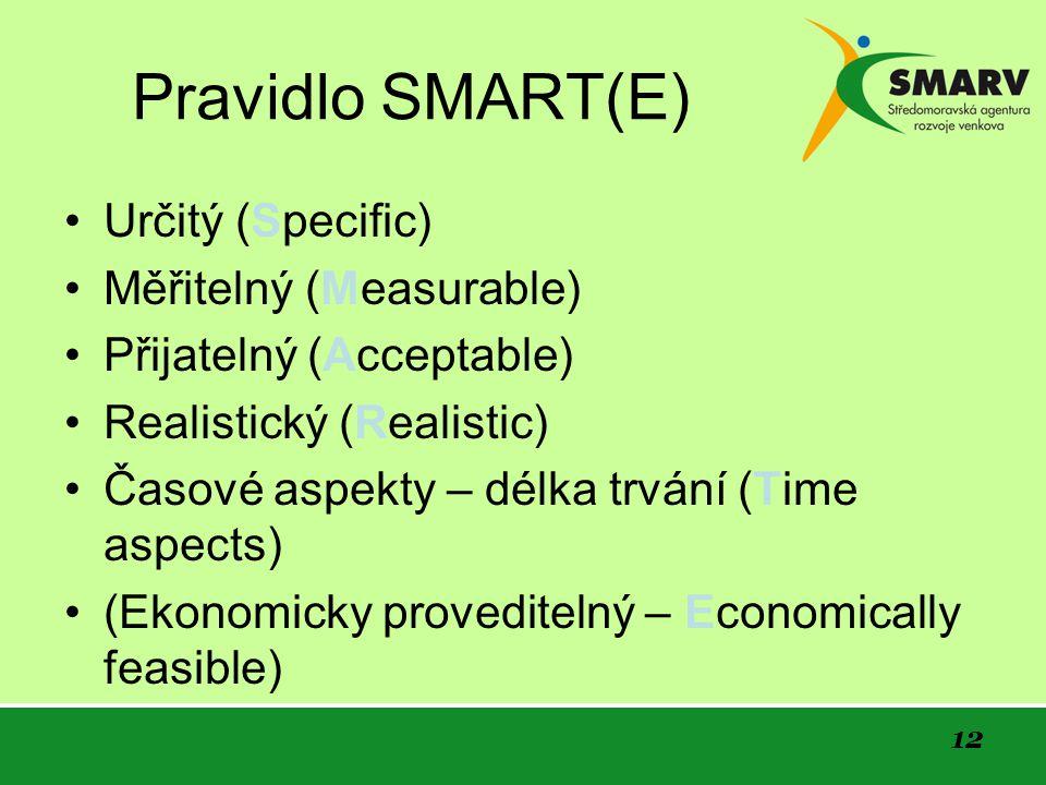 12 Pravidlo SMART(E) Určitý (Specific) Měřitelný (Measurable) Přijatelný (Acceptable) Realistický (Realistic) Časové aspekty – délka trvání (Time aspects) (Ekonomicky proveditelný – Economically feasible)