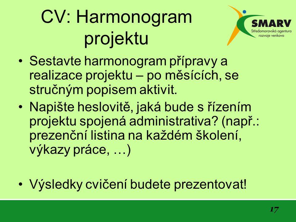 17 CV: Harmonogram projektu Sestavte harmonogram přípravy a realizace projektu – po měsících, se stručným popisem aktivit.