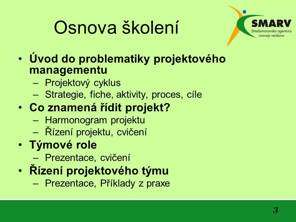 3 Osnova školení Úvod do problematiky projektového managementu – Projektový cyklus – Strategie, fiche, aktivity, proces, cíle Co znamená řídit projekt.