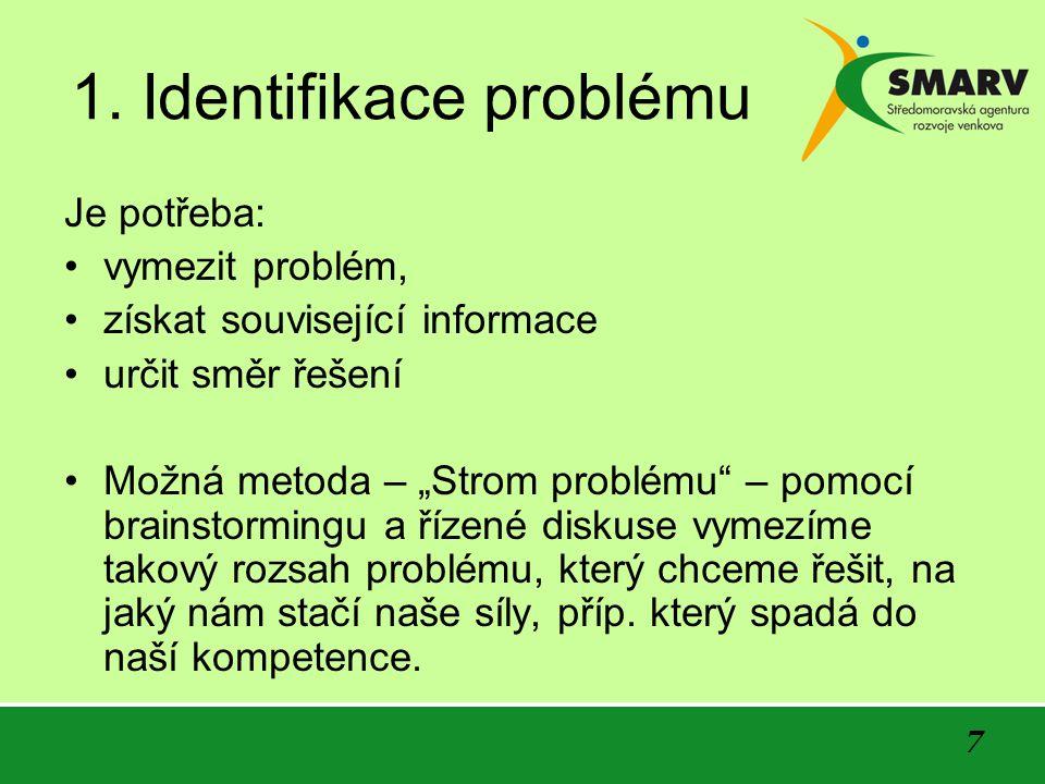 """7 1. Identifikace problému Je potřeba: vymezit problém, získat související informace určit směr řešení Možná metoda – """"Strom problému"""" – pomocí brains"""