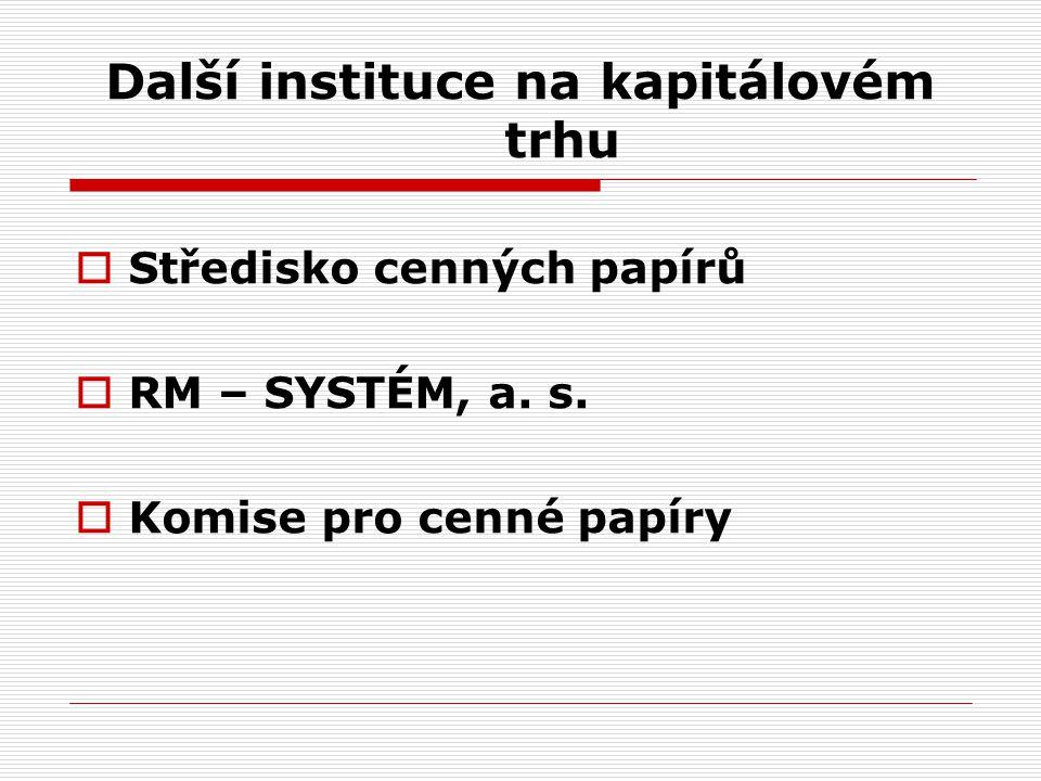 Další instituce na kapitálovém trhu  Středisko cenných papírů  RM – SYSTÉM, a.
