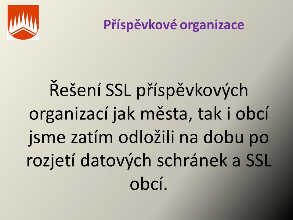 Příspěvkové organizace Řešení SSL příspěvkových organizací jak města, tak i obcí jsme zatím odložili na dobu po rozjetí datových schránek a SSL obcí.