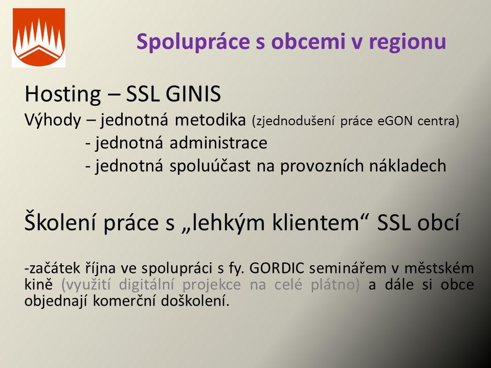 Spolupráce s obcemi v regionu Hosting – SSL GINIS Výhody – jednotná metodika (zjednodušení práce eGON centra) - jednotná administrace - jednotná spolu