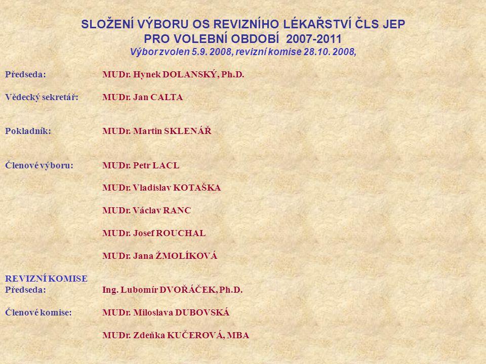 SLOŽENÍ VÝBORU OS REVIZNÍHO LÉKAŘSTVÍ ČLS JEP PRO VOLEBNÍ OBDOBÍ 2007-2011 Výbor zvolen 5.9.
