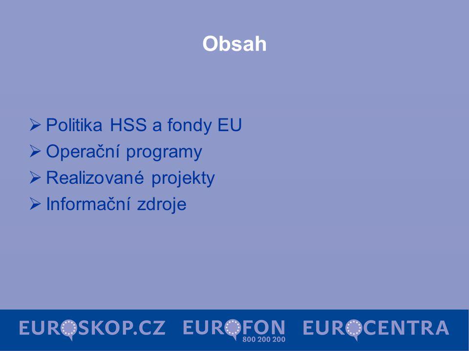 Obsah  Politika HSS a fondy EU  Operační programy  Realizované projekty  Informační zdroje