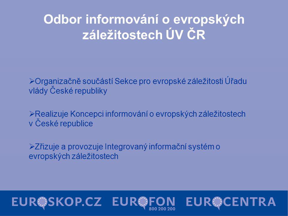 Odbor informování o evropských záležitostech ÚV ČR  Organizačně součástí Sekce pro evropské záležitosti Úřadu vlády České republiky  Realizuje Konce