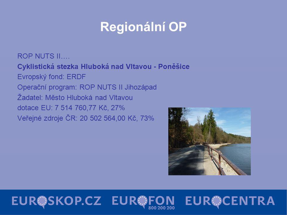 Regionální OP ROP NUTS II…. Cyklistická stezka Hluboká nad Vltavou - Poněšice Evropský fond: ERDF Operační program: ROP NUTS II Jihozápad Žadatel: Měs