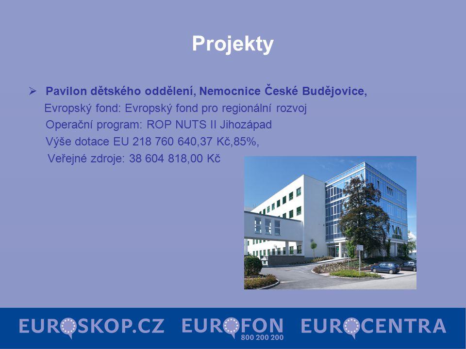 Projekty  Pavilon dětského oddělení, Nemocnice České Budějovice, Evropský fond: Evropský fond pro regionální rozvoj Operační program: ROP NUTS II Jihozápad Výše dotace EU 218 760 640,37 Kč,85%, Veřejné zdroje: 38 604 818,00 Kč