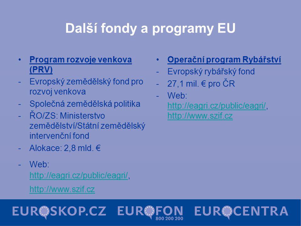 Další fondy a programy EU Program rozvoje venkova (PRV) -Evropský zemědělský fond pro rozvoj venkova -Společná zemědělská politika -ŘO/ZS: Ministerstvo zemědělství/Státní zemědělský intervenční fond -Alokace: 2,8 mld.