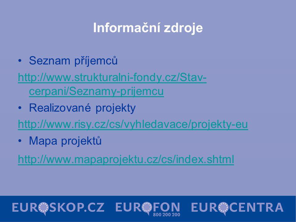 Informační zdroje Seznam příjemců http://www.strukturalni-fondy.cz/Stav- cerpani/Seznamy-prijemcu Realizované projekty http://www.risy.cz/cs/vyhledavace/projekty-eu Mapa projektů http://www.mapaprojektu.cz/cs/index.shtml