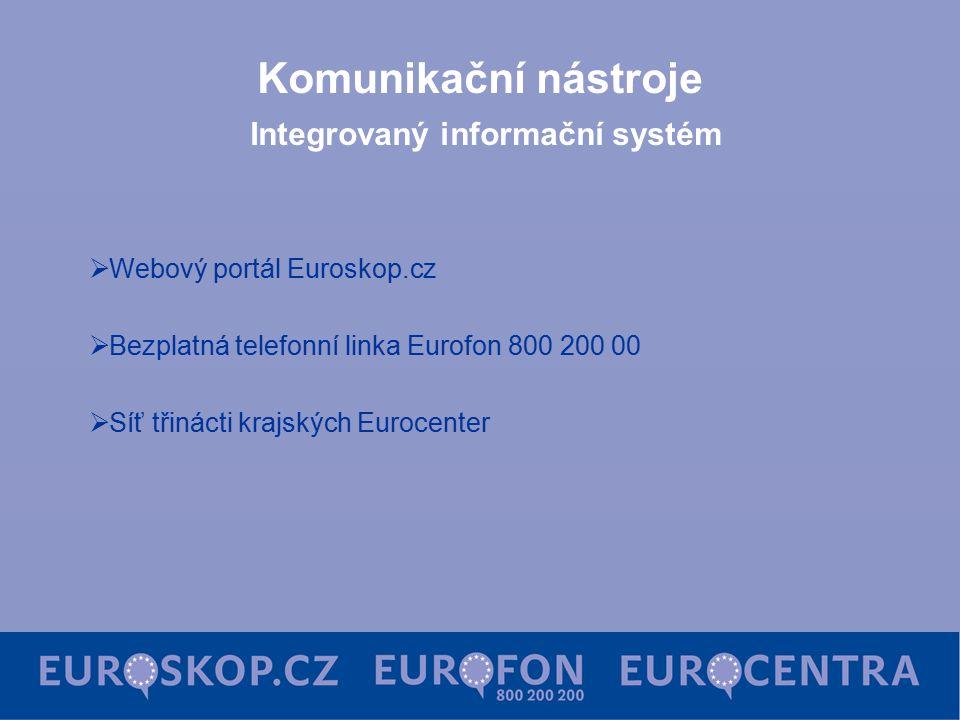 Komunikační nástroje Integrovaný informační systém  Webový portál Euroskop.cz  Bezplatná telefonní linka Eurofon 800 200 00  Síť třinácti krajských Eurocenter