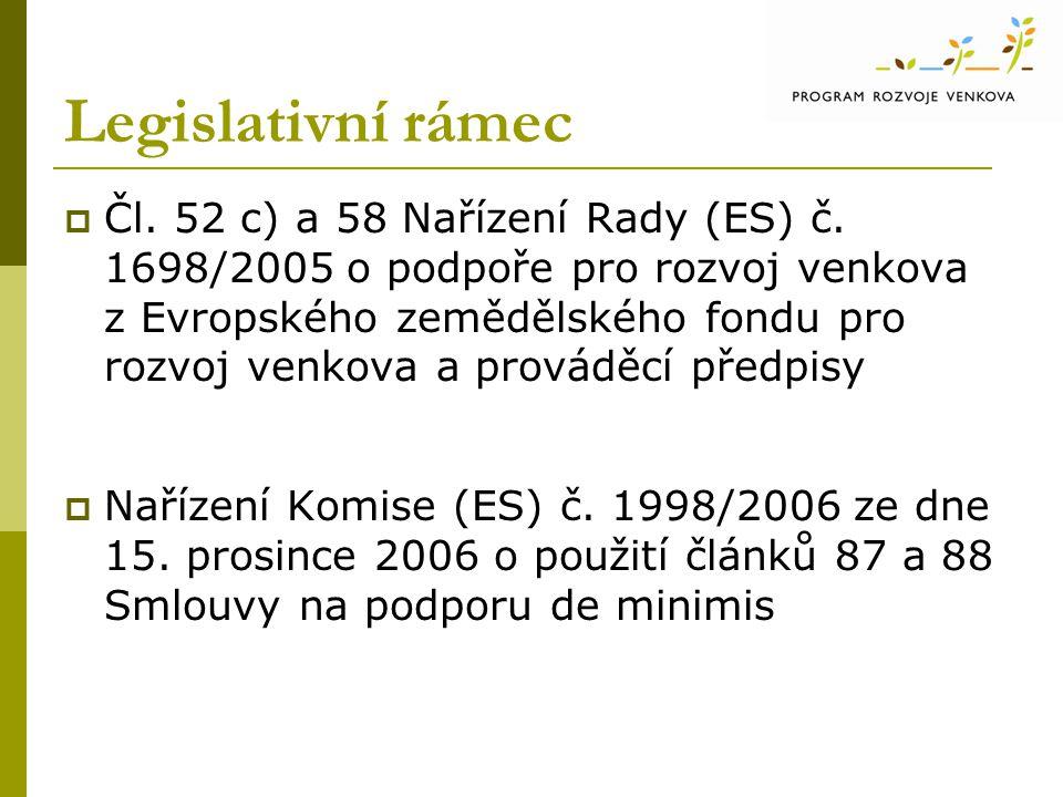 Legislativní rámec  Čl. 52 c) a 58 Nařízení Rady (ES) č.