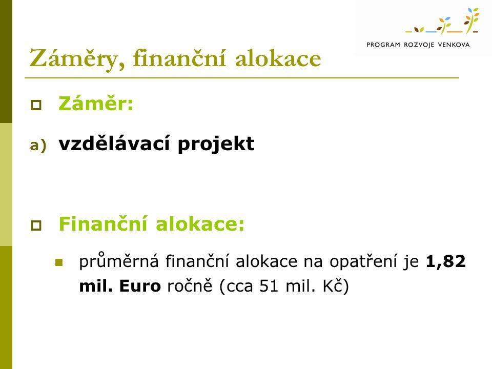 Záměry, finanční alokace  Záměr: a) vzdělávací projekt  Finanční alokace: průměrná finanční alokace na opatření je 1,82 mil.