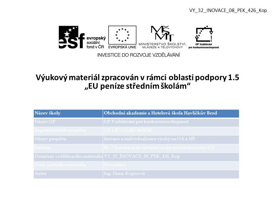 Vzdělávací obor, pro který je materiál určen Obchodní akademie Předmět Písemná a elektronická komunikace Ročník 3.