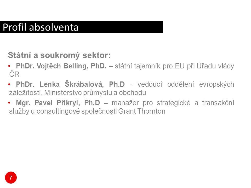 7 Státní a soukromý sektor: PhDr. Vojtěch Belling, PhD. – státní tajemník pro EU při Úřadu vlády ČR PhDr. Lenka Škrábalová, Ph.D - vedoucí oddělení ev