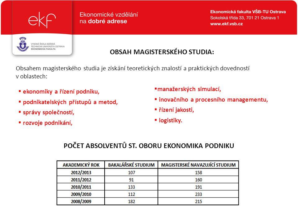OBSAH MAGISTERSKÉHO STUDIA: Obsahem magisterského studia je získání teoretických znalostí a praktických dovedností v oblastech:  ekonomiky a řízení p