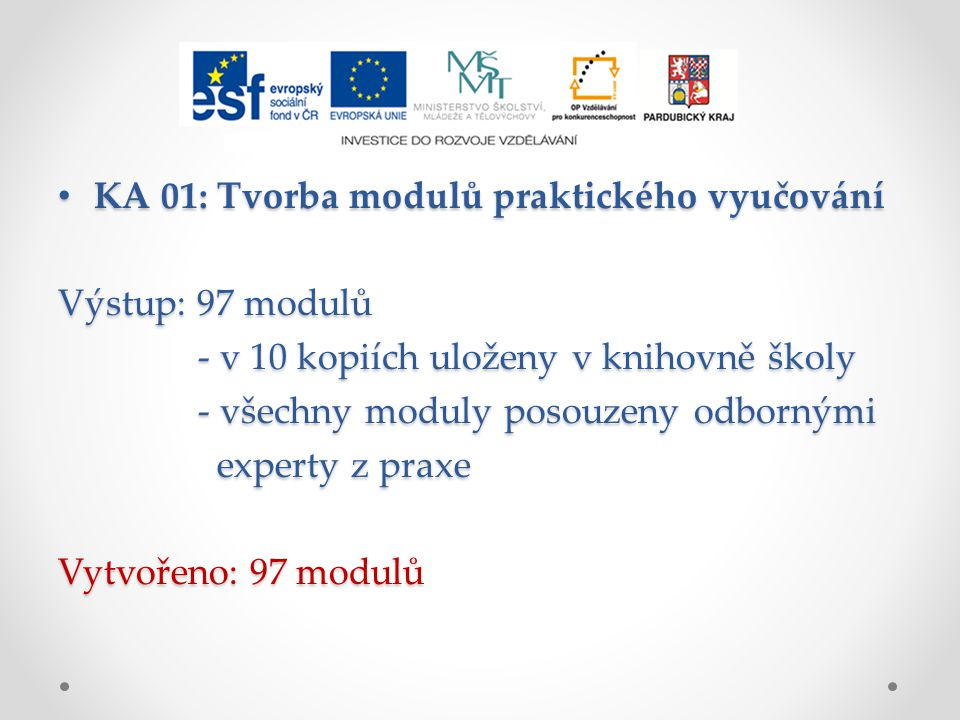 KA 01: Tvorba modulů praktického vyučování KA 01: Tvorba modulů praktického vyučování Výstup: 97 modulů - v 10 kopiích uloženy v knihovně školy - v 10 kopiích uloženy v knihovně školy - všechny moduly posouzeny odbornými - všechny moduly posouzeny odbornými experty z praxe experty z praxe Vytvořeno: 97 modulů