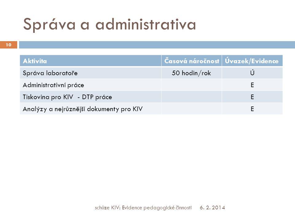 Správa a administrativa AktivitaČasová náročnostÚvazek/Evidence Správa laboratoře50 hodin/rokÚ Administrativní práceE Tiskovina pro KIV - DTP práceE Analýzy a nejrůznější dokumenty pro KIVE 6.