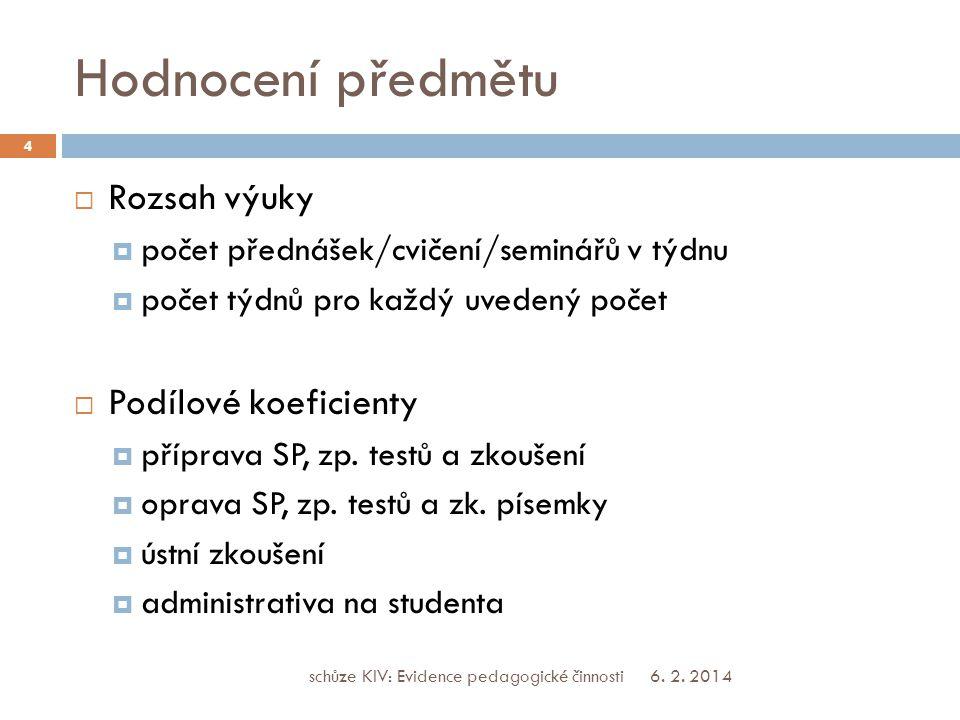 Hodnocení předmětu  Rozsah výuky  počet přednášek/cvičení/seminářů v týdnu  počet týdnů pro každý uvedený počet  Podílové koeficienty  příprava SP, zp.