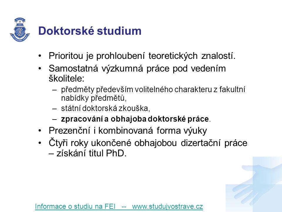 Doktorské studium Prioritou je prohloubení teoretických znalostí.